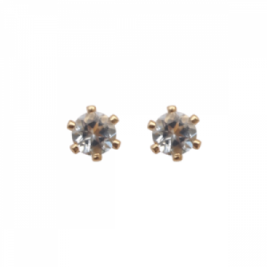 """Solitaire"" Aquamarin (S) - Stud Earring - Gold"