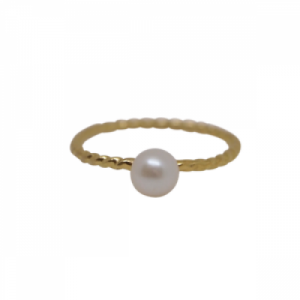 """Sophie"" Nature Pearl Twist - Ring - Gold"