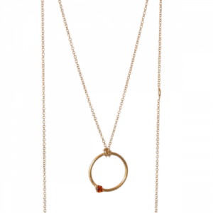 """Solitaire"" Fire Citrin - Necklace - Gold"