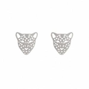 """Panthera"" Head - Stud Earring - Silver"