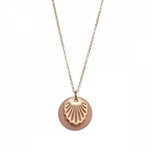 """Hummingbird Shell"" Nude - Necklace - Gold"