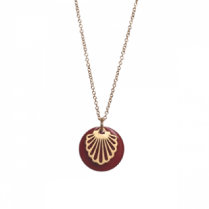 """Hummingbird Shell"" Red - Necklace - Gold"