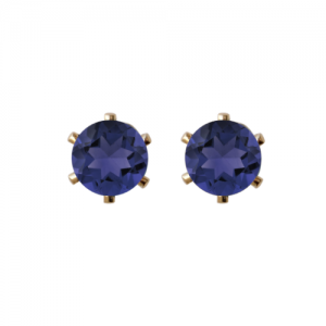 """Solitaire"" Iolite (M) - Stud Earring - Gold"