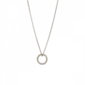 """""""Un-Deux-Trois"""" Milgrain Circle - Necklace - Silver"""