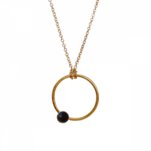 """Petit Point"" Onyx - Necklace - Gold"