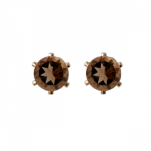 """Solitaire"" Smoky (M) - Stud Earring - Gold"
