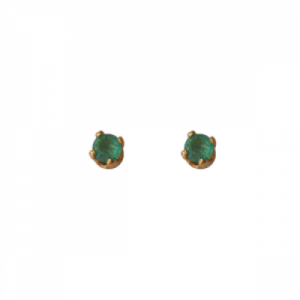"""Solitaire"" Emerald (XS) - Stud Earring - 18 Karat Gold"