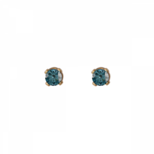 """Solitaire"" Diamond Blue (XS) - Stud Earring - 18 Karat Gold"