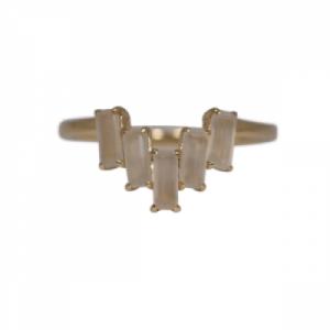 BAGUETTE | Paper Moonstone Five - Ring - 18 Karat Gold
