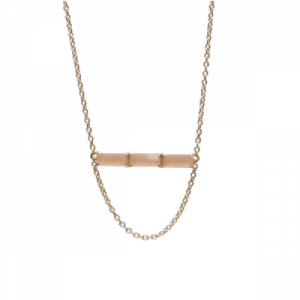 """Baguette"" Peach Moonstone Three - Necklace - 18 Karat Gold"
