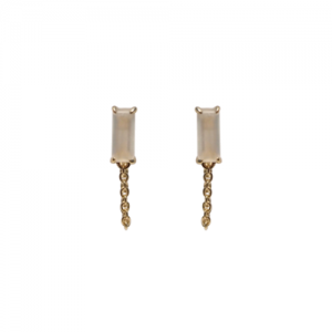 """Baguette"" Paper Moonstone with chain - Stud Earring - 18 Karat Gold"