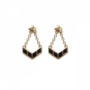 """Opalia"" Black Onyx Carousel - Stud Earring - 18 Karat Gold"