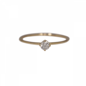 """Solitaire"" Diamond White (S) - Ring - 18 Karat Gold"
