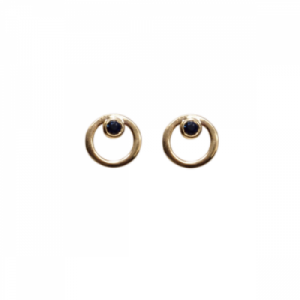 """Curvaceous"" Sapphire - Stud Earring - 18 Karat Gold"