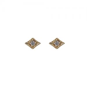"""Opalia"" Vintage Rhombus White Diamond - Stud Earring - 18 Karat Gold"