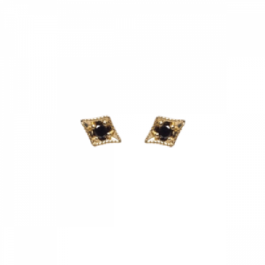 """I Dream of Jeannie"" Black Diamond Rhombus - Stud Earring - 18 Karat Gold"