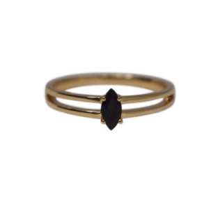 """Cleometra"" Marquise Black Onyx - Ring - 18 Karat Gold"