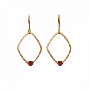 """Petit Point"" Coral Rhombus - Brisur Earring - Gold"