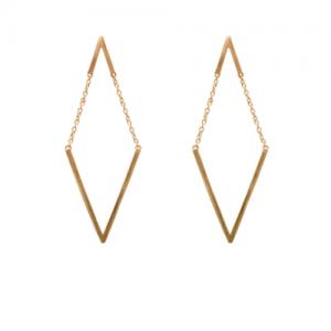 """Trinity"" V Moving - Stud Earring - Gold"