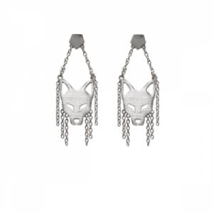 """""""Cityfox"""" Head Trapeze - Stud Earring - Silver"""