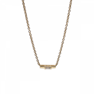 """Baguette"" Diamond Bar - Necklace - 18 Karat Gold"