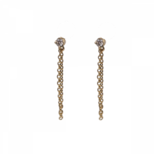 """Solitaire"" Diamond White Chaining - Stud Earring - 18 Karat Gold"