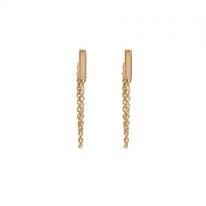 """""""Stripes & Joist"""" Bar Chaining - Stud Earring - Gold"""