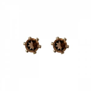 """Solitaire"" Smoky (S) - Stud Earring - Gold"