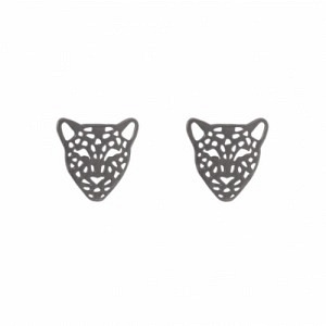 """Panthera"" Head - Stud Earring - Ruthenium"