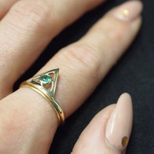 """""""Trinity"""" Illuminati Emerald - Ring - 18 Karat Gold"""