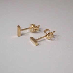 """Stripes & Joist"" Bar S - Stud Earring - 18 Karat Gold"