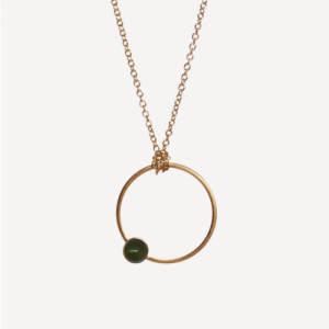 """Petit Point"" Green Jade - Necklace - Gold"