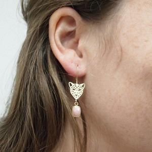 """Panthera"" Pink Opal Big Head - Earring - Gold"