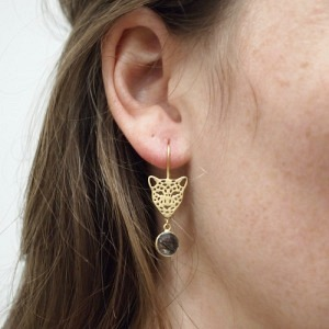 """Panthera"" Bristles Big Head - Earring - Gold"