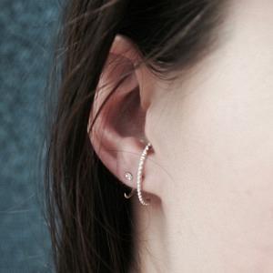 """""""Un-Deux-Trois"""" Milgrain - Stud Earring - Silver"""