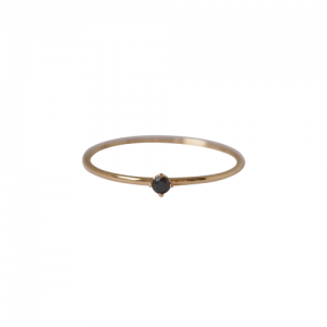 """Solitaire"" Diamond Black (XS) - Ring - 18 Karat Gold"