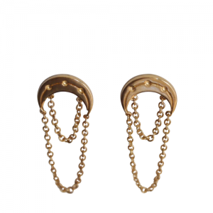 """Moon"" Half Phase - Stud Earring - Gold"