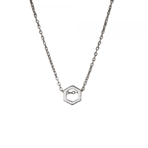 """Cleometra"" Hexagon Orbit - Necklace - Silver"