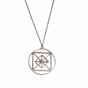 """Cleometra"" Pyramid Geometry - Necklace - Silver"