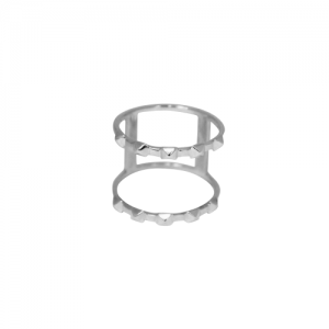 """Cleometra"" Pyramid Rivets Row Cage - Ring - Silver"