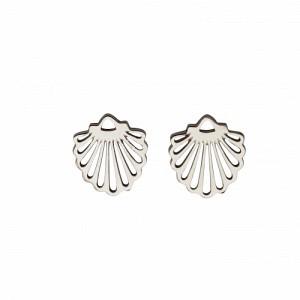 """Hummingbird Shell"" - Stud Earring - Silver"