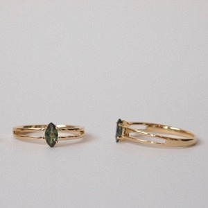 """Cleometra"" Marquise Green Sapphire - Ring - 18 Karat Gold"