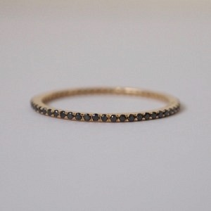 """Stripes & Joist"" Bar Infinity Diamond Black - Ring - 18 Karat Gold"