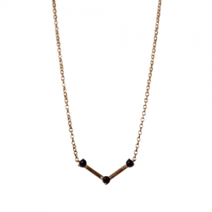 """Petit Point"" Onyx Musca Constellation - Necklace - 18 Karat Gold"