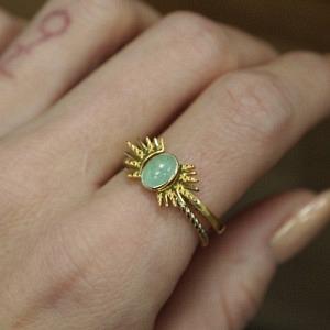 """""""Sophie"""" Ellipse Twist Aventurin - Ring - Gold"""