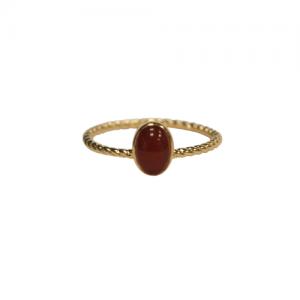 SOPHIE   Ellipse Twist Carnelian - Ring - Gold