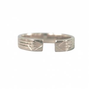 STRIPES&JOIST   Open M - Ring - Silver