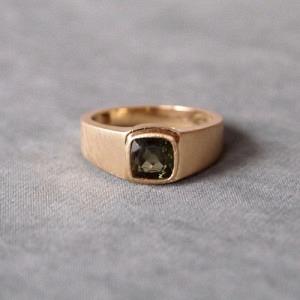 """""""Baguette"""" Moldavite - Ring - 18 Karat Gold"""