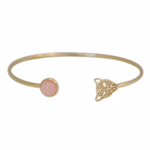 """Panthera"" Pink Opal & Head - Bangle - Gold"