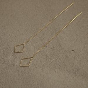 """""""Opalia"""" Rhombus Chain - Earring - Gold"""